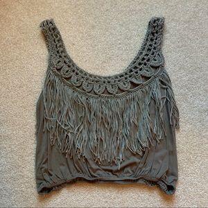 Boutique Yarn Fringe Crop Top